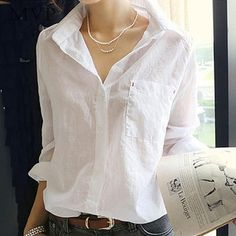 White Turn Down Collar Long Sleeve Tops Casual Cotton Blouse