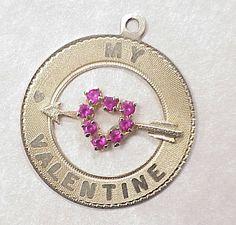 Vintage 14k Gold Jeweled Charm ~ My Valentine circa 1960's..