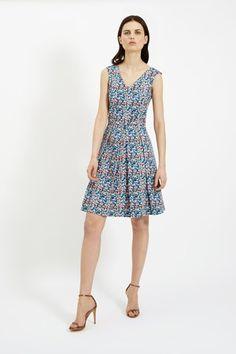 Abby Flared Dress in Blue Multi