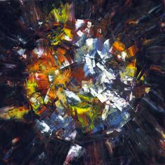 """""""Ball of Confusion"""" by Crystal Hover oil paint on plaster tile"""