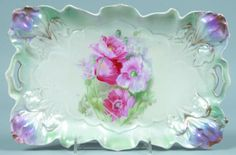 """RS Prussia Rectangle Tray, 7.5""""w. x 11""""l.; Mold 25, Iris, FD 9 pink poppies and daisies pn white. Iridescent luster finish over mauve and green accents. Gold outline on Iris"""