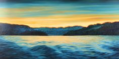 Last Light - Leaving the Sunshine Coast Riitta Peirone (2013) Oil on canvas 30in × 60in × 1.5in Current Bid: $1100  #art #vancouver ARTBOMB: BUY WHAT YOU LOVE