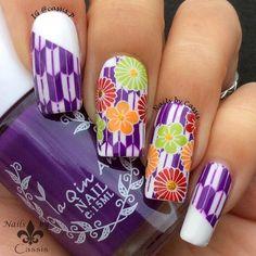 Nails by Cassis: Yagasuri x Flower Stamping Mani #nails #nailart #nailstamping #harunouta #bornprettystore #hehe