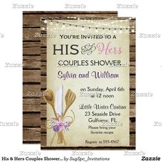 His & Hers Couples Shower Invitation Rustic Couples Bridals shower invitation features a barn wood background, wood kitchen utensils wrapped with flowers and hanging lights.