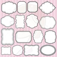 Digital Frames Clipart Clip Art Commercial Use Scrapbooking Frames Craft Cardmaking Embellishment Page Decoration Borders White Middle 10063 Scrapbook Frames, Scrapbook Embellishments, Diy Invitation, Shower Invitation, Page Decoration, Line Artwork, Borders And Frames, Borders Free, Clip Art