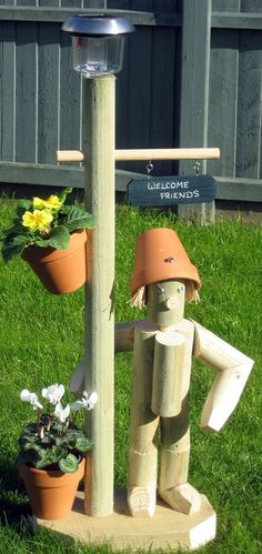 Flowerpot Men Garden Ornaments - Stander + Solar Lamp & Handwritten Plaque