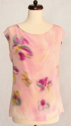 Hand painted silk blouse with flowers. by DorSilk on Etsy, zł170.00