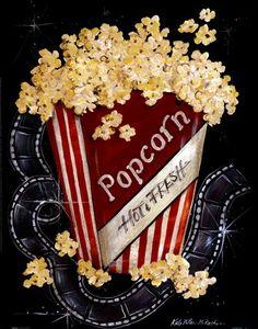 """Popcorn"" Fine Art Print by Kate McRostie. Posters Vintage, Vintage Movies, Movie Themes, Chalkboard Art, Kitchen Art, Kitchen Prints, Chalk Art, Picture Wall, Food Art"