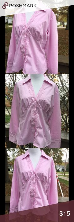 🆕 Bisou Bisou Pretty in Pink Blouse ! 💞 Pretty in Pink ! V neckline ! Small lace detail on sleeves and down the front ! 6 buttons in front ! 62% cotton 33% polyester 55% spandex ! Machine wash cold tumble low ! Very flattering bodice ! Slightly fitted ! Never worn ! 💞 Bisou Bisou Tops Blouses