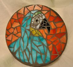 stained glass for mosaics   Stained Glass Mosaic Macaw Parrot Garden Stone by BearsAndBoulders