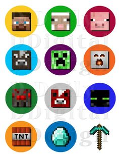 Minecraft Stickers Printable Cake/Cupcake Toppers/ Party Favors/ Favor Bag Decorations/ Cup Stickers/ AVERY Comp INSTANT DOWNLOAD