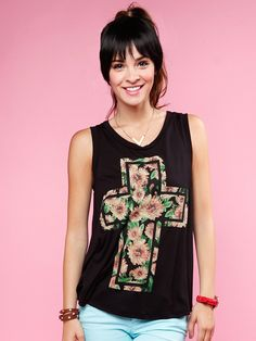 FLORAL CROSS SLEEVELESS TOP