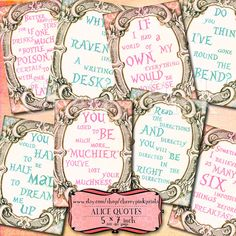 ALICE in WONDERLAND QUOTES digital collage by CherryPinkPrints, $5.00