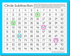 Circle Subtraction Game, good for after they've learned subtraction with regrouping