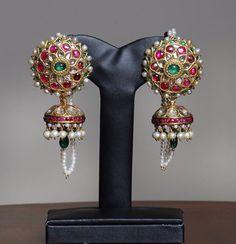 Earring Ruby Jewelry, India Jewelry, Temple Jewellery, Gems Jewelry, Wedding Jewelry, Jewelery, Gold Diamond Earrings, Indian Earrings, Small Earrings