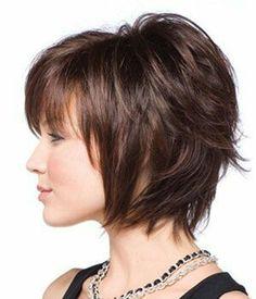 Short hair with lots of layers and a bang