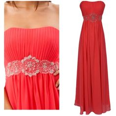Fiesta Formals Pre-owned Coral / Watermelon Empire Waist Chiffon Floor... ($101) ❤ liked on Polyvore featuring dresses, gowns, long evening dresses, bridesmaid dresses, long prom dresses, long bridesmaid dresses and red formal gown