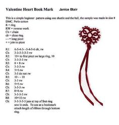 tatting Pattern for Janice Blair's Heart
