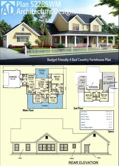 Introducing Architectural Designs Country Farmhouse Plan 52285WM. Introduced in response to requests for smaller versions of plans 4122WM and 52269WM, we're excited to see this built!  It gives you 4 beds and just under 1,900 square feet of heated living space.  Ready when you are. Where do YOU want to build?