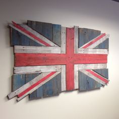 Finished British Flag (Union Flag/Jack) made from reclaimed pallet wood. Roughly 60x30 inches