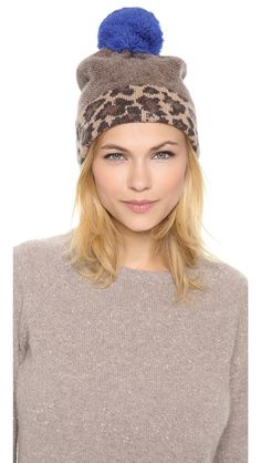 """Lenora Leopard Hat"" -- M by MJ #accessories #winter #pompomhat (!)"
