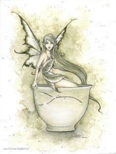 Amy Brown Print Green Tea Faery Fairy Cup Mug Coffee Kitchen Organic Wall Art