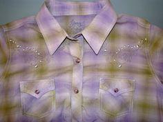Twenty X Tailored Fit Cowboy Shirt Western Rockabilly Purple Green Sz: L Cotton #TwentyX #Western