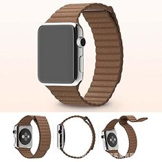 73d9b8ffe25 Genuine Leather Loop Watch Band Strap Magnetic Buckle For Apple Watch 42mm  B Amazon Apple