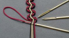 "Gripfids for ply-split braiding by John Brockway.  Meander braid by Linda Hendrickson.  Instructions for this braid are in ""How to Make Ply-Split Braids & Bands""."