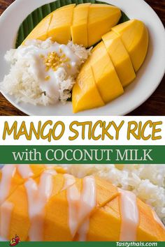 Mango sticky rice is called 'khao nieow mamuang' in Thai and is a delicious dessert dish much beloved in Thailand and rightly so. Mamuang is the word for mango and you do need nice sweet ripe mangos for the dish. The trick is in getting the rice right. Dessert Dishes, Köstliche Desserts, Health Desserts, Delicious Desserts, Yummy Food, Easter Desserts, Sweet Sticky Rice, Mango Sticky Rice, 21 Day Fix