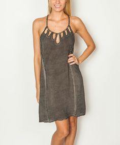 Another great find on #zulily! Dark Gray Chain & Cutout Scoop Neck Shift Dress by ANAMÁ #zulilyfinds
