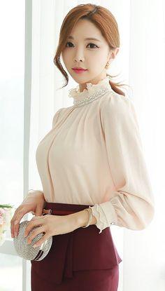 StyleOnme_Pearl Neckline Ruffle Blouse #romantic #pearl #blouse #ivory #fallcolor #autumnlook #feminine #girl #kfashion #seoulstyle #chic #trendy