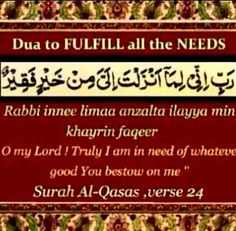 To fulfill all needs