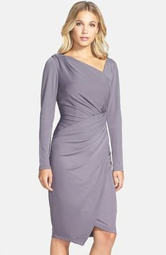 Vera Wang Asymmetrical Long Sleeve Sheath Dress available at #Nordstrom