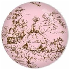 Chocolate Kisses Toile Custom Drawer Knob  Price: $14.50   VisitStore»  Uploaded by Margaret Everton  A simple dresser can be made over into a unique addition to a baby's room through the simple addition of knobs. This miniature toile detailing will add a touch of pink and intrigue to the simplest of dressers.