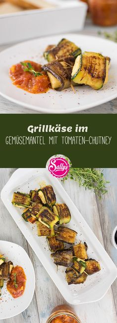 The grilled cheese is in a zucchini and eggplant coat. I also serve a tomato-apricot chutney. Grilled Zucchini, Grilled Veggies, Zucchini Aubergine, Grilled Desserts, Grill Party, Vegetarian Recipes, Healthy Recipes, Good Food, Yummy Food