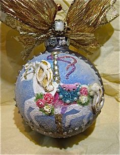 Rocking Horse Hand Painted Ornament by KARCREATIONS on Etsy, $47.00