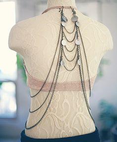 The Aria Back Drape - Art Deco Upper Back Bra Drape / Hip Drape - Antique Bronze or Silver