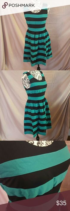 """Green and Black Skater Dress This cute dress has green and black stripes. Lined skirt. Side zipper. The material has a thick, soft cotton feel with some stretch. Skater style.  💘Measurements (laying flat): Bust-16.5"""" Waist-14"""" Length-33"""" Lucy & Co. Dresses Mini"""