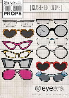 Photo Booth Props PRINTABLE PROPS - GLASSES EDITION