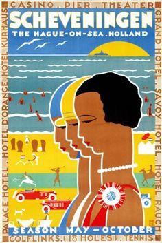 Vintage poster for Scheveningen, the Hague-on-the-sea.