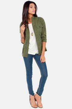 You don't have to be on military time to appreciate the classic style of the BB Dakota by Jack Leslie Army Green Military Jacket! A hidden zipper placket snaps shut to keep out the cold on this army green twill military style jacket with long sleeves and a drawstring waist for shape. Four front flap pockets button closed with marbled brown buttons. Unlined. Model is wearing a size x-small. 100% Cotton. Hand Wash Cold or Dry Clean.