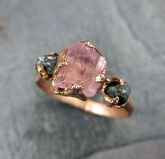Raw Pink Tourmaline Diamond 14k Rose Gold Engagement by byAngeline...why does it only need to be for an engagement.