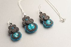 """Artículos similares a Soutache set: bracelet, ear-rings and ring """"The Arctic Ocean """" en Etsy Custom Jewelry, Handmade Jewelry, Unique Jewelry, Soutache Necklace, Swarovski, Sleeping Beauty Turquoise, Turquoise Pendant, Sterling Silver Necklaces, Etsy"""