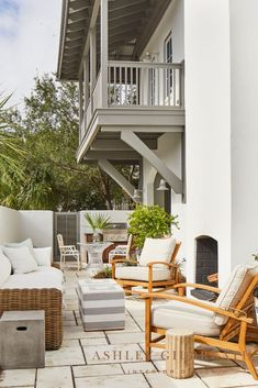 ASHLEY GILBREATH INTERIOR DESIGN: Summer Classics Croquet Teak Recliners and Montecito sofa are upholstered in performance fabric for easy outdoor living in this Rosemary Beach patio. An outdoor fireplace extends patio use well into the cooler months! Limestone tile provides the perfect backdrop for this chic outdoor space. Beautiful Beach Houses, Beautiful Homes, Ashley Gilbreath, Rosemary Beach, Outdoor Spaces, Outdoor Decor, Outdoor Living, Bunk Rooms, Maine House