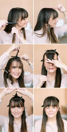 How to Trim Bangs from Camille Styles.I wish I had seen this How to Trim Bangs tutorial yesterday, because I've been doing it all wrong.Go to the link to see how to trim bangs the right way with lots of tips and tricks.