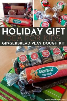 Looking for a fun holiday gift idea for kids that will spark their creativity and inspire playtime learning? This gingerbread play dough making kit is also a great play date activity for kids!