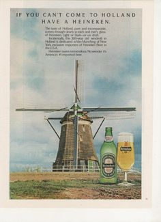 Items similar to 1977 Advertisement Heineken Beer Windmill Van Munching New York Holland Bar Pub Restaurant Wall Art Decor on Etsy Vintage Advertisements, Vintage Ads, Vintage Posters, Funny Commercials, Funny Ads, Print Advertising, Print Ads, Netherlands Windmills, Holland Netherlands