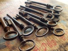 Ten Large Rustic Antique Skeleton Keys / Instant Collection love old keys