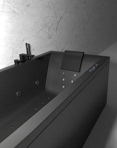 Nemo 180 i svart matt med velværepakke design (massasjesystem), Vega svart matt armatur og svart matt nakkepute. Bathtub, Bathroom, Standing Bath, Washroom, Bathtubs, Bath Tube, Full Bath, Bath, Bathrooms